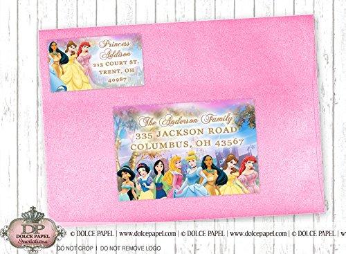 10 10 Disney Princess Jasmine, Snow White, Mulan, Sleeping Beauty, Cinderella, Pocahontas, Belle, Ariel ANY AGE Birthday Party RETURN & GUEST Address Labels