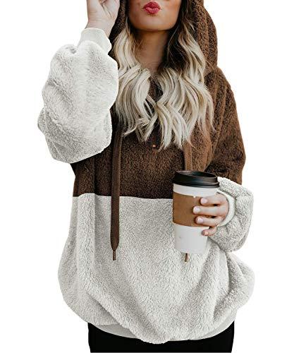 BINGBIAN Women's Loose Hoodies Sweatshirt Long Sleeve Zipper Fuzzy Pullover (L, Brown 2)