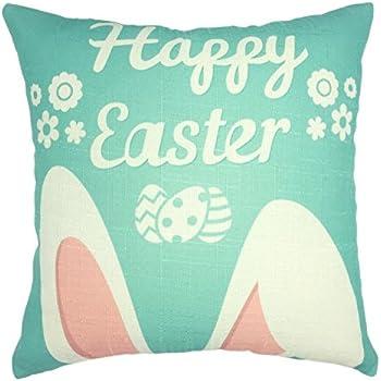 YOUR SMILE Easter Cotton Linen Square Decorative Throw Pillow Case Cushion Cover 18x18 Inch(44CM44CM)