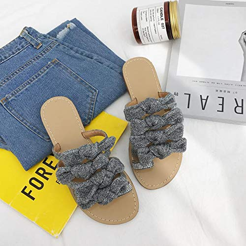 FangYOU1314 Dulce Plata de Sandalias Plano Deslizamiento de imitación de Sandalias Zapatillas Desgaste de Diamantes rTrYq