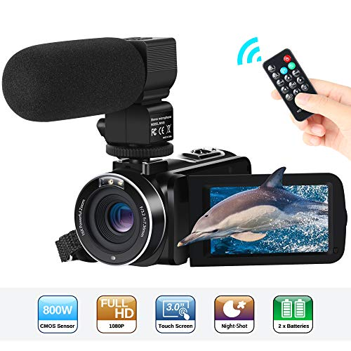 Camcorder,Aabeloy Video Camera Vlogging Camcorders Night Vision IR 1080P 30fps FHD 24MP 16X Digital Zoom with External Microphone for YouTube with Remoter