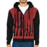 UYILP Men's Red USA Gun Flag Fashion Casual Athletic Long Sleeve Crew Sweatshirt Full-Zip Hoodie Pockets