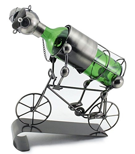 WINE BODIES ZB711 Bicycle Rider Metal Wine Bottle Holder, Charcoal ()