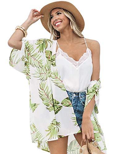 Women Flowy Sheer Crop Sleeves Loose Chiffon Kimono Cardigan Blouse Top Green-Leaf XL - Leaves Cardigan Sweater