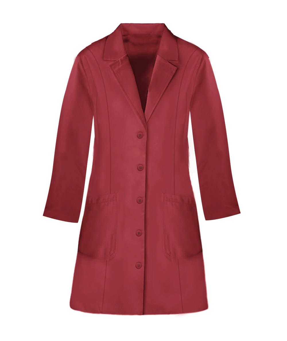 Panda Uniform Custom Colored Lab Coat for Women 36 Inch length-Red-M