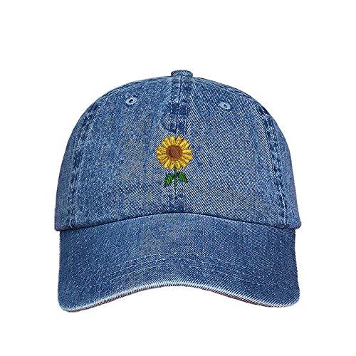 flower Dad Hat - Denim Baseball Hat - Unisex ()
