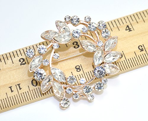 Gyn&Joy Clear Crystal Rhinestone Floral Wreath Pin Brooch BZ005 (Crystal) by Gyn&Joy (Image #1)