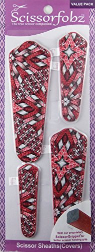 Scissor Sheath (Scissors sheaths by SCISSORFOBZ with ScissorGripper -VALUE PACK-4 sizes- Designer Scissor Covers Holders for embroidery sewing quilting - Quilters sewers gift - Awesome Red Quilting Blast Print. S-56)