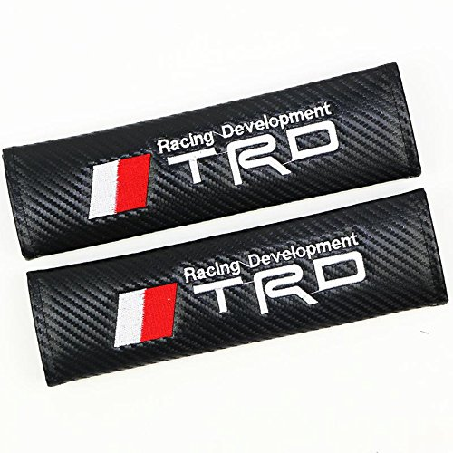 misshaoyunperfect TRD Cars Embroidered Badge Comfortable Seat Belt Shoulder Pad Cover Velcro Opening Fiber 1 Pair (Belt Types Pad Seat)
