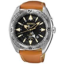 Seiko SUN055 Men's X Prospex Stainless Steel Orange Leather Strap Band Black Dial Watch