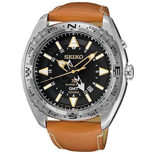 Seiko SUN055 Men's X Prospex Stainless Steel Orange Leather Strap Band Black Dial Watch