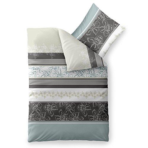 2-teilige Bettwäsche   verschiedene Größen   4-Jahreszeiten 135 x 200 cm   Baumwolle Trend Vanesa 2 tlg.   geblümt gestreift beige grau anthrazit
