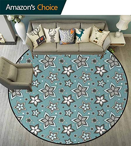 DESPKON-HOME Flower Round Rugs for Bedroom,Nature Beauty Floret Motif Botany Garden Bouquet Essence Fragrance Theme Circle Rugs for Living Room Round-47 Inch,Pale Grey Turquoise