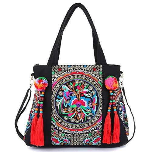 - Embroidered Tassels Tote Shoulder Bag Casual Canvas Handbag Cross Body Bag