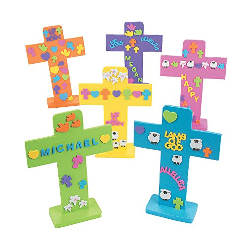 Fun Express - Exciting Easter Foam Crosses for Easter - Craft Kits - Home Decor Craft Kits - 3 - D Tabletop - Easter - 24 Pieces