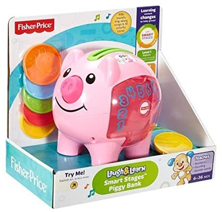 Fisher-Price Laugh & Learn Smart Stages Piggy Bank [Amazon Exclusive] Fisher Price - Import DGC34