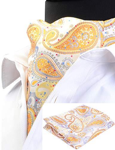 (GUSLESON Men's Ascot Paisley Cravat Necktie Floral Jacquard Woven Gift Tie and Pocket Square Set (0603-09))
