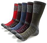 MIRMARU M205-Men's 5 Pairs Multi Performance Outdoor Sports Hiking Trekking Crew Socks (Olive,Purple,Brown,Blue,Red)