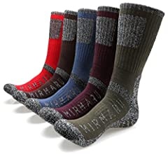 MIRMARU Multi Performance Hiking Socks are the perfect blend for strength and durability , made with 55% combed cotton, 40% polyester, 3% rubber, 2% spandex.       Socks made for long-lasting comfort on the trail, in the mountains, and...