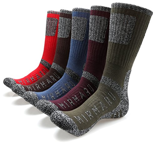 MIRMARU M205-Medium-Men's 5 Pairs Multi Performance Outdoor Sports Hiking Trekking Crew Socks (Olive,Purple,Brown,Blue,Red) from MIRMARU