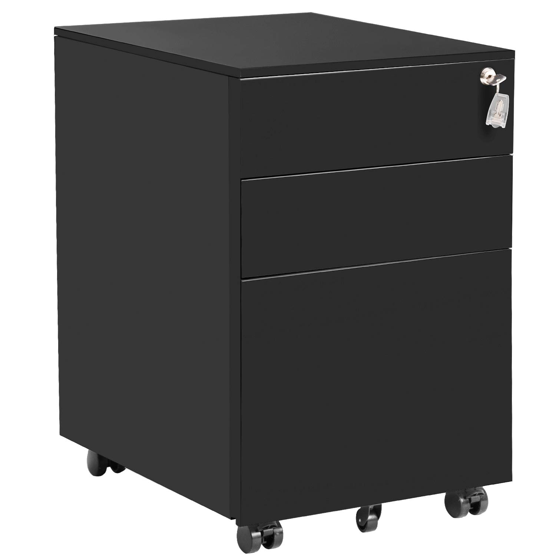 Three Drawer File Cabinet Mobile Metal Lockable File Cabinet Under Desk Fully Assembled Except for 5 Castors (Black) by P PURLOVE (Image #1)