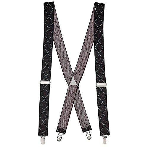 "Buyless Fashion Mens 48'' Elastic Adjustable 1 1/4"" Suspenders In X Shape"