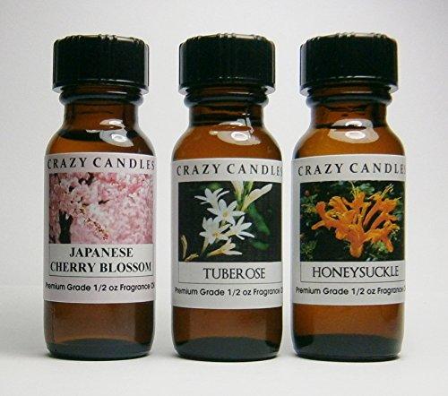 3 Bottles Set, 1 Japanese Cherry Blossom, 1 Honeysuckle, 1 Tuberose 1/2 Fl Oz Each (15ml) Premium Grade Scented Fragrance Oils By Crazy Candles Honeysuckle Blossom