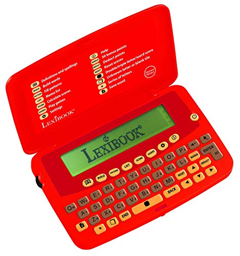 Lexibook The official Scrabble Players Dictionary, practical, small and weightless format, Built-in jog dial on the left side, Optimize your score, Batterie, Red, SCF-428AUS
