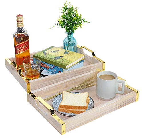 Spiretro Rectangular 16 x 12inch Breakfast Serving Tray with Golden Metal Handles, for Coffee Table Tea Bar Food Bed Parties Kitchen Dining Living Room, Rustic Torched Wood - Grey, Nested Set of 2 (Melamine Table Coffee)