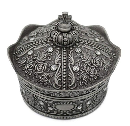 mossty Cute Metal Crown Jewellery Box Antique European Style Treasure Box Princess Makeup Organizer with Flower Carved Big Size by mossty (Image #2)