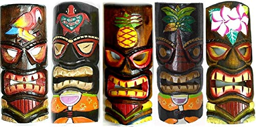 SET OF 5 HAND CARVED POLYNESIAN HAWAIIAN TIKI STYLE MASKS 12 IN TALL turtle pineapple colorful flower parrot - Pineapple Tiki Totem