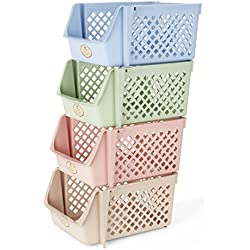 Titan Mall Storage Bins Plastic Stackable Storage Bins for Food, Fruits, Files, Mixed Color Storage Baskets, 15 X 10 X 7 Inch/bin, Blue-Green-Pink-Khaki, Set of 4