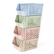 Titan Mall Storage Bins Plastic Stackable Storage Bins for Food, Fruits, Files, Mixed Color Storage Baskets, 15 X 10 X 7 Inch/bin, Blue-Green-Pink-Khaki, Set of 4