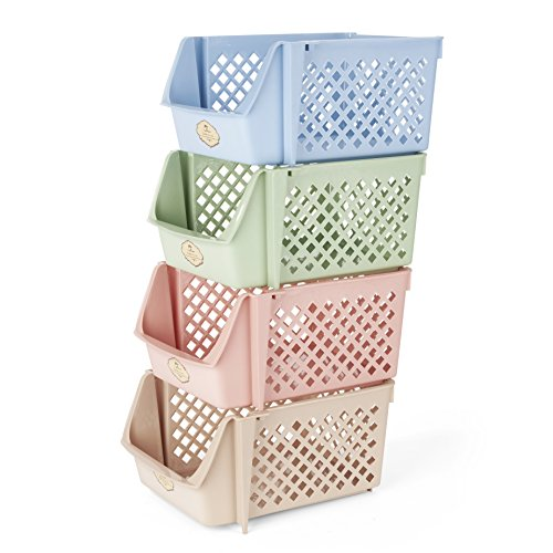 - Titan Mall Stackable Storage Bins for Food, Snacks, Bottles, Toys, Toiletries, Plastic Storage Baskets Set of 4, 15x10x7 Inch/bin, Blue-Green-Pink-Khaki Color Shelf Baskets