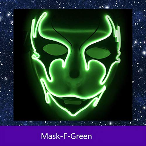 Micchow Cosplay LED Wired Scary Mask EL Wire Guy Fawkes Mask Light up for Costume Party Birthday Halloween Carnival -