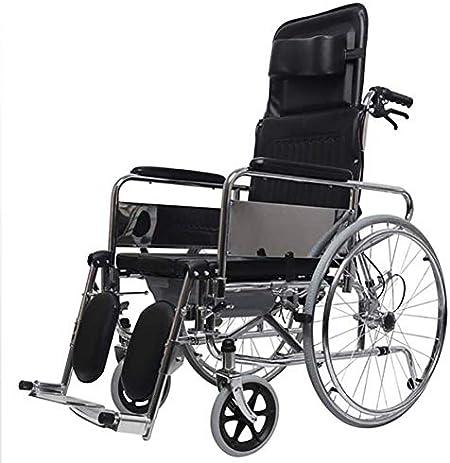 Folding wheelchair Silla de Transporte Trasera Plegable, Ligera y Plegable, Respaldo abatible Acolchado Desmontable de Brazo Completo, Plataformas Elevadoras, Estructura cromada