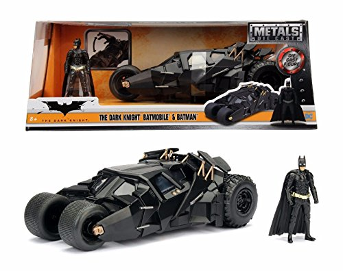 NEW 1:24 W/B JADA TOYS CLASSIS TV COLLECTION - BLACK The Dark Knight Batmobile Car Tumbler With Batman Figure Diecast Model Car By Jada (Dark Knight Collection)