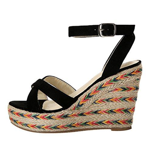 A Tacones Zapatos Cu Boca Verano 9cm Negro Plataforma Mujeres Pescado Lvguang taln Sandalias Altos 1 qTw0RB