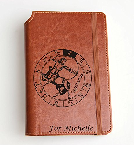 Sagittarius Sign Journal, Laser Engraved Journal Thermo Leather Bound A Nice Gift For The People You Care, It Can Be A Birthday Gift, diary, planner
