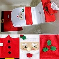 perg Transferencia 3 Piezas/Juego Nette Navidad decoración navideña Papá Noel Inodoro sitzab Cobertura baño Alfombra, 4