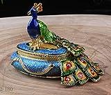 znewlook Round Male Peacock Figurine Box Bird Jewelry, Peacock Jewelry Trinket Box Figurine New