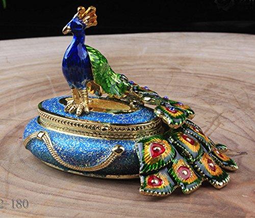 Round Male Peacock Figurine Box Bird Jewelry, Peacock Jewelry Trinket Box Figurine New