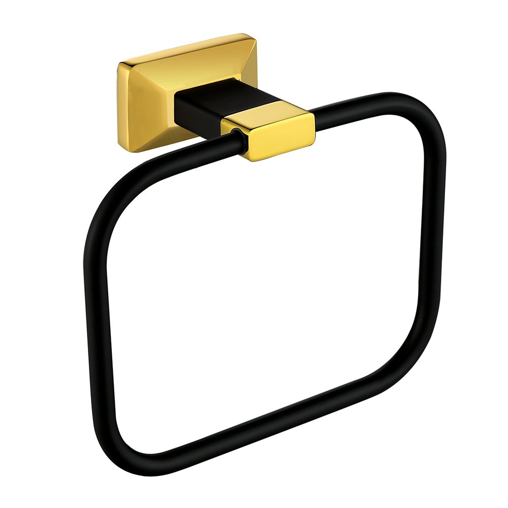 Sumin Home 2807B Bathroom Towel Ring Wall Mounted, Black Gold