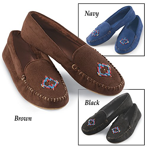 Navy Collections Collections Etc Etc Womens Suede Faux Womens Moccasin Beaded w4ZzqaZ