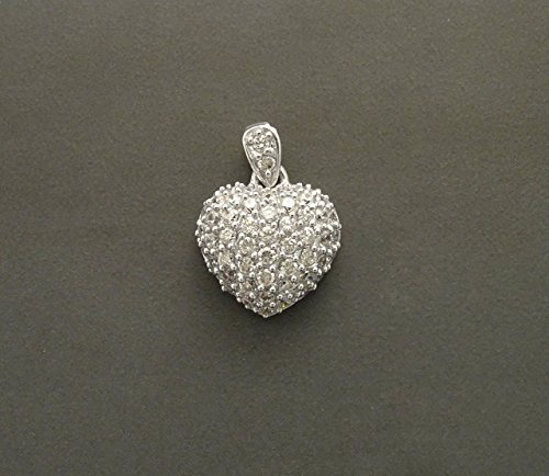 Heart Retro Pendant - Sterling Silver - Medium size Pendant - Micro Pave CZ . Vintage style, Diamond Style, diamond Color, Valentin's day