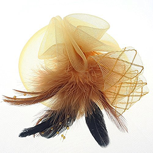 Navifoce Fashion Women's Flower Feather Mesh Net Fascinator Beaded Cocktail Headwear with Hair Clip and Brooch (Light Yellow) - Horse Holiday Ornament