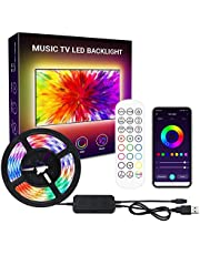Kamzai TV LED Strip Lights, 2M RGB TV LED Backlights with App Control, Remote Control, Music Sync, Scene Mode, Color Changing LED Light Strip with Timer for HDTV PC Computer Gaming, USB Powered