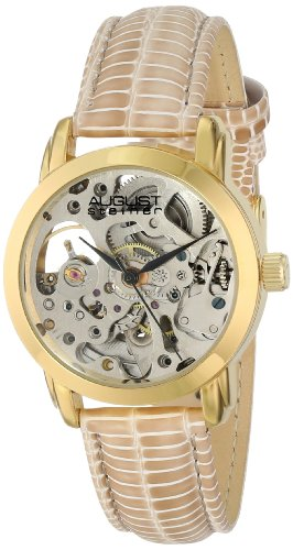 August Steiner Women's AS8033YG Skeleton Automatic Strap Watch -
