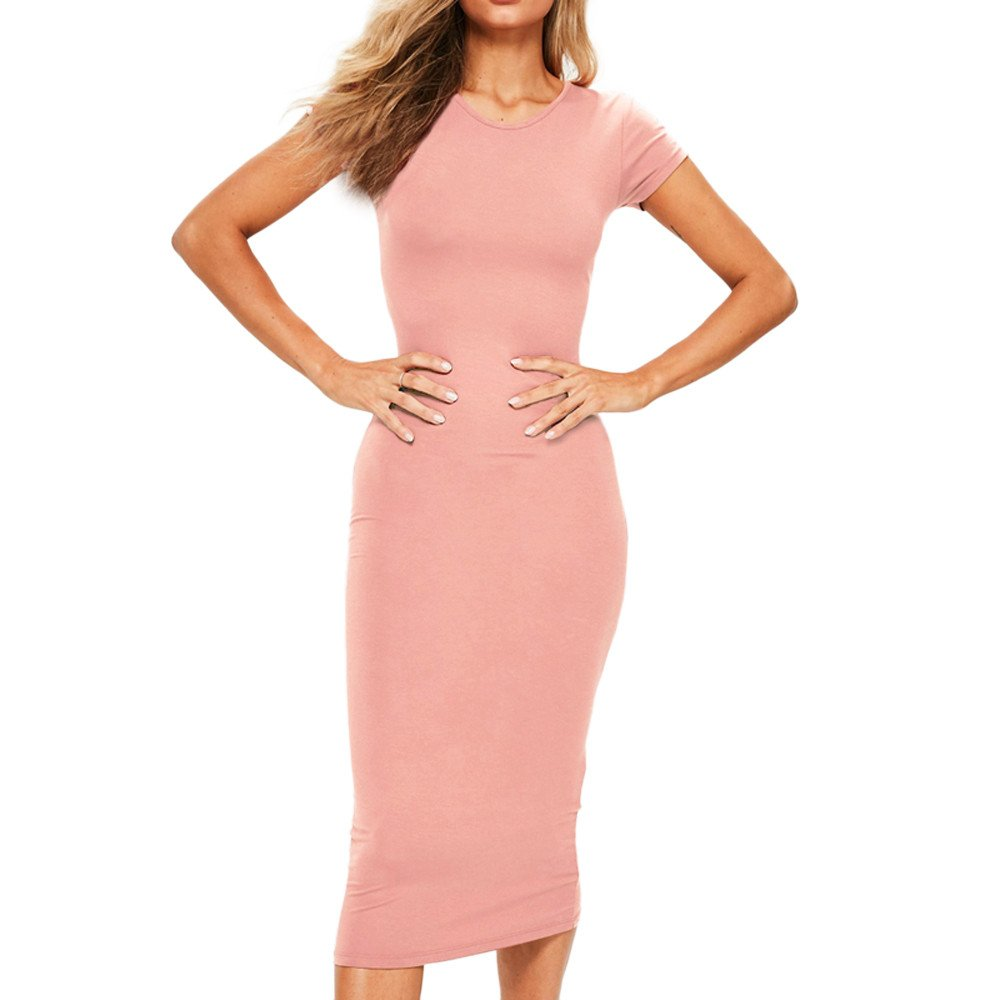 HIRIRI Women Solid Color Slim Long Dresses Short Sleeve O-Neck Ladies Sheath Hobble Pencil Skirt