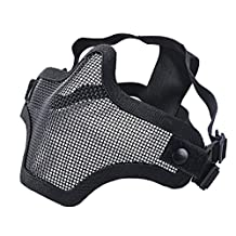 Aniwon Half Face Mask Carbon Steel Metal Mesh Airsoft CS Protective Face Mask